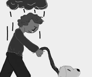 Depressed man walks his dog