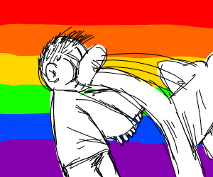 person gets kicked in face  rainbow backgroun