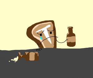 T-bone steak drowns its sorrows in alcohol