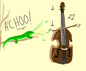 lizard sneezes on cello playing itself