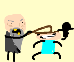 angry old man attacking children with a cane