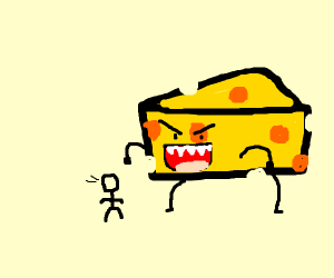 Cheese preparing to eat a tiny person