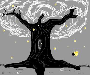 black & white tree with fireflies
