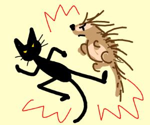 ninja cat and ninja porcupine fighting