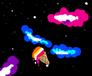 Lesbian ice cream cone in space