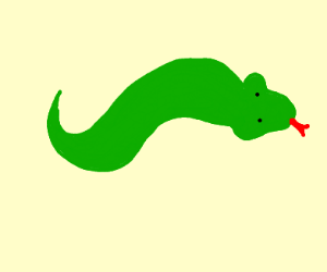 A really short green snake with a red tongue.