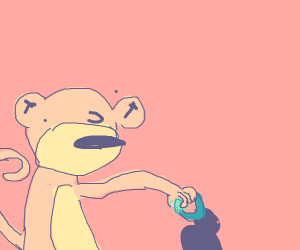 monkey feeds bug to bird