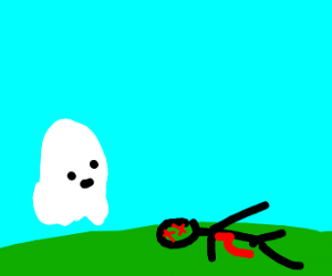 a ghost watching his dead corpse
