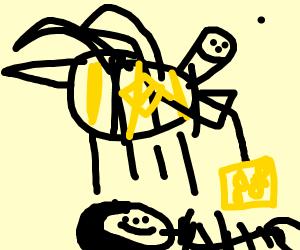 happy little bee washes itself with sponge
