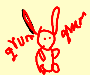 a red gummy bunny