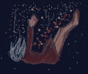 Girl in a dark dress falling