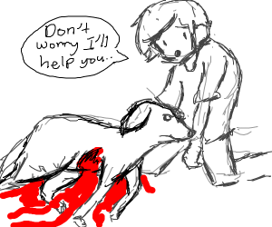 Dog is bleeding too much and dude trys to hel
