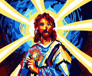 Jesus Christ with an exploding vape