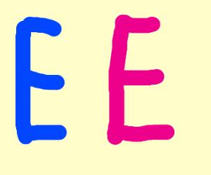blue E and Pink E