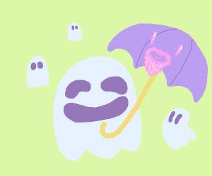 purple umbrella beardo with g-g-g-ghosts