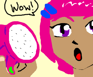 Anime girl impressed by dragon fruit