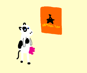 Cow looks at hamilton poster