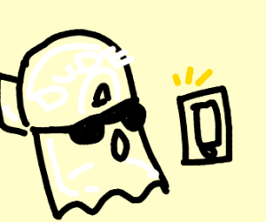 ghost in a cap looks at i-phone