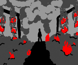 Step 3: walk among the rubble and fire