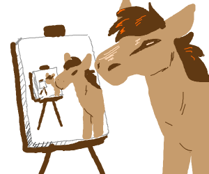 horse makes self portrait of a self portrait+