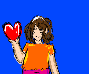 9y.o. girl holding flacid heart