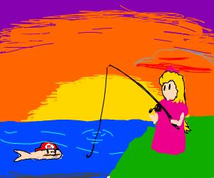 Peach fishing for a mario