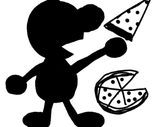 Mr. Game and Watch eating a slice of pizza