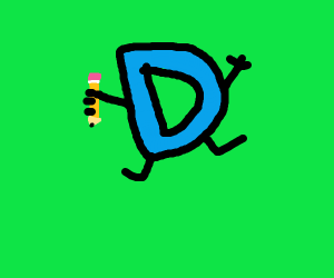 A blue D with limb