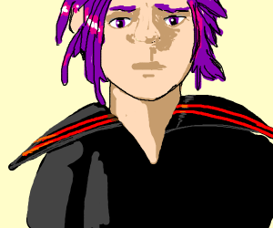 purple haired man in japanese sailor outfit