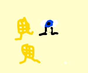 Eeyore jogging with Waffles