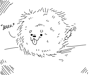 A puffball with a dog face