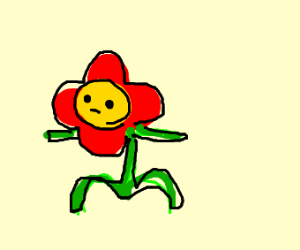 Boy draws red flower, also looks like a child