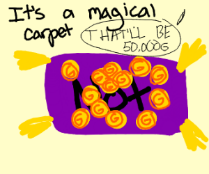 Pile of gold on a magic carpet