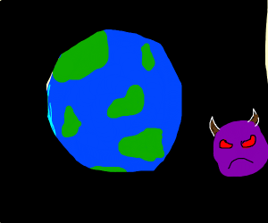 planet with red eyes and brown horns