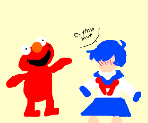 Elmo and a faceless anime girl
