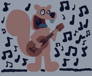 Squirrel playing the ukulele