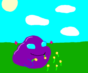 A happy sparkly purple blob eating dandelions