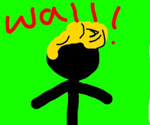 Green screen stickman with Donald trumps hair