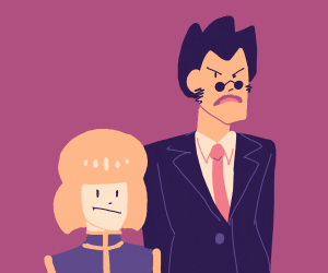 angry business man and small child