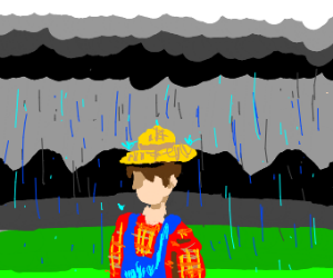 Sad farmer singing in the rain