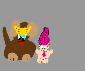 dog that has a pet troll and a banana bandana
