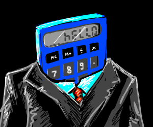 a man with a calculator face