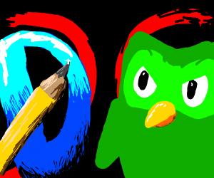 Drawception D vs Duo (Duolingo) St. fighter
