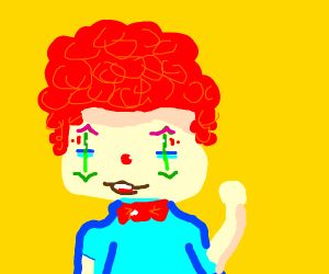 Clown with green sticks for eyes