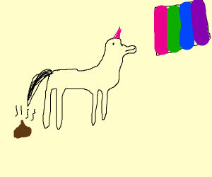 Gay unicorn pooping