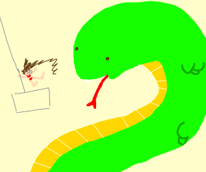 Snake About to Eat Derpy Exotic Dancer