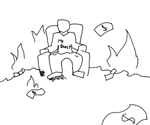 On a throne, Mr Beast burns all his cash.