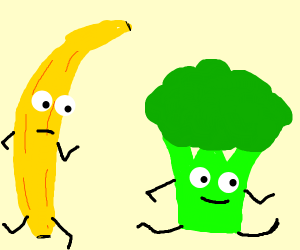 Broccoli races against banana, is winning