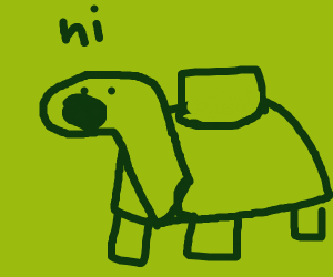 """A turtle says """"hi"""" to you."""