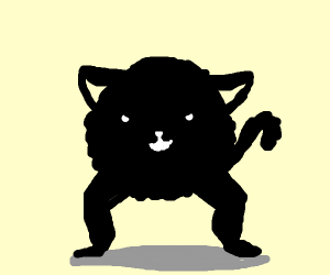 Two legged cat (cursed image)
